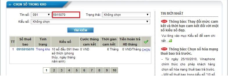 Huong dan chon so Vinaphone